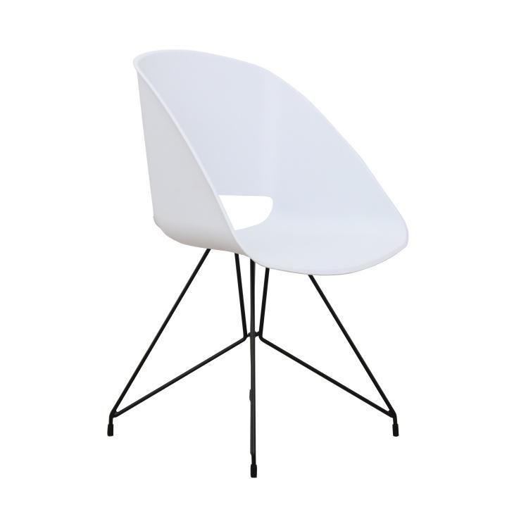 Stolička jedálenská, biela,  na bielom pozadí, FRAME