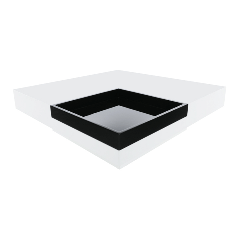 Măsuţă cafea, albă luciu ridicat HG/luciu negru, ELIOT