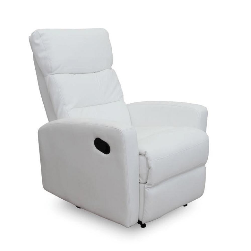 Pihenőfotel, textilbőr fehér, SILAS