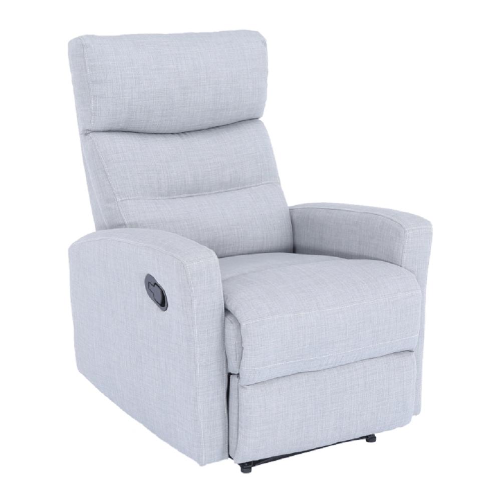 Fotoliu pentru relaxare, material textil gri deschis, SILAS