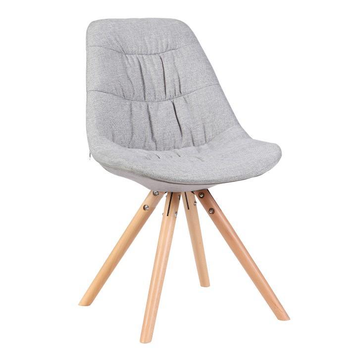 Stolička, látka sivá/dub, REGE, na bielom pozadí