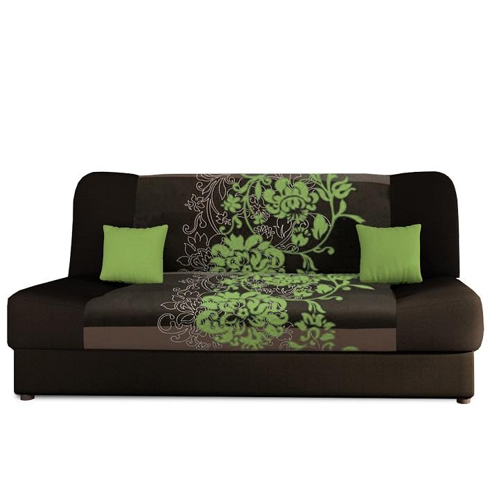 Pohovka, rozkladacia s úložným priestorom, látka hnedá/zelený kvet, s vankúšikmi, PLUM NEW
