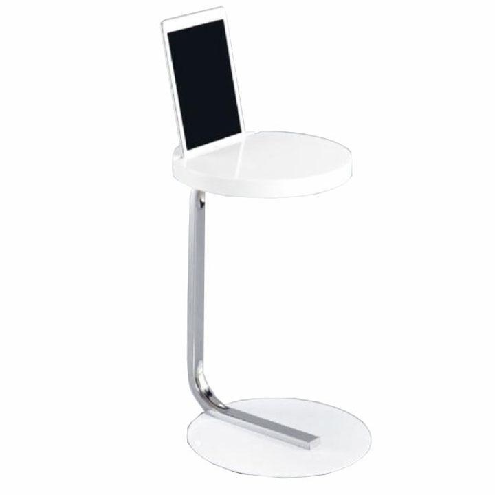 Príručný stolík na tablet, biela lesk, MILANA, na bielom pozadí