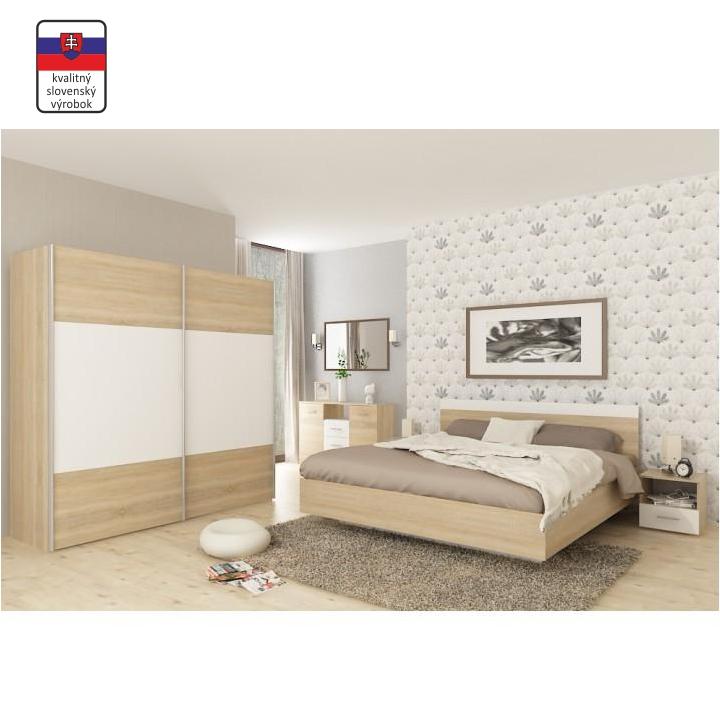 Spálňový komplet, skriňa, posteľ 180x200, 2 x nočný stolík, z DTD laminovanej,  dub sonoma/biela, interiérová fotka, GABRIELA