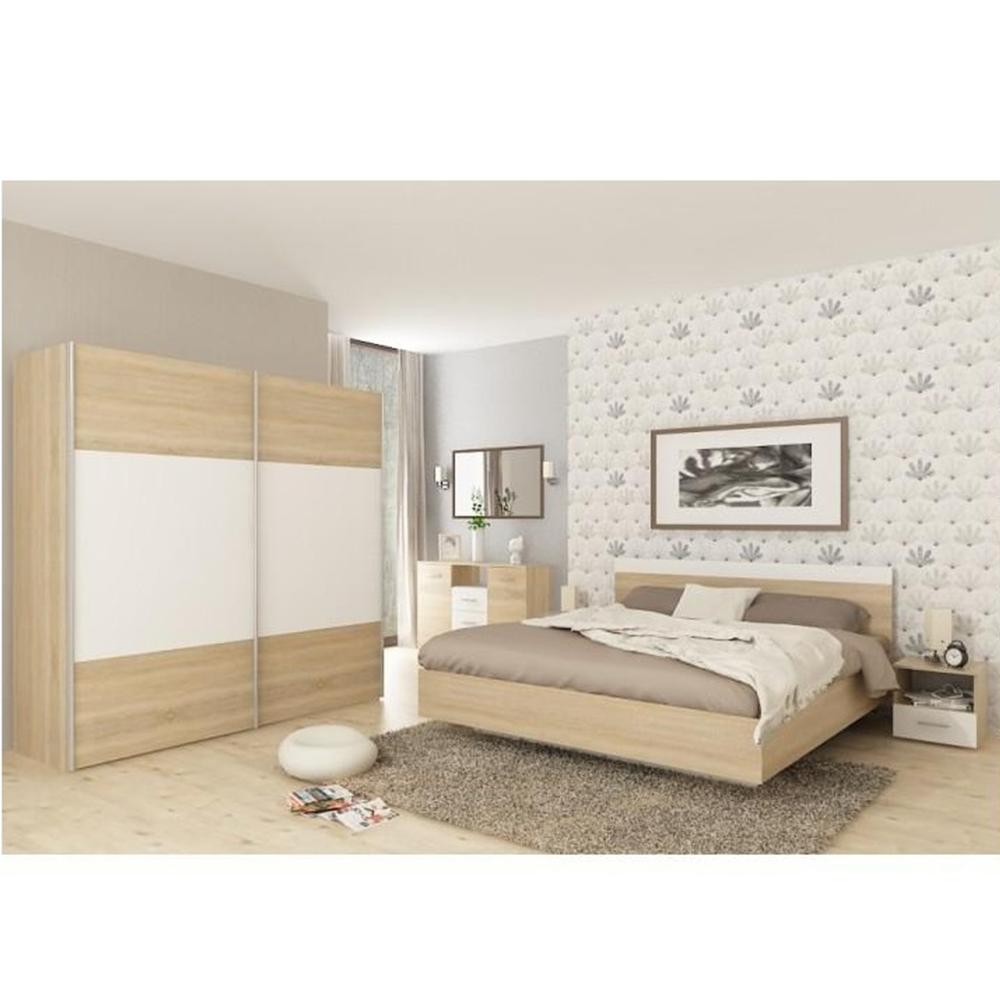 Hálószoba garnitúra (ágy 180x200 cm), tölgy sonoma/fehér, GABRIELA