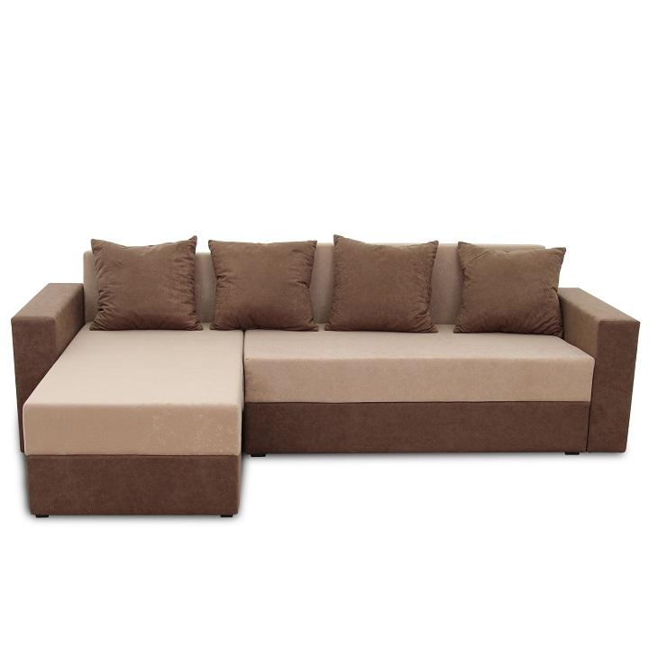 Rohová sedacia súprava, hnedá/béžová látka, ARON