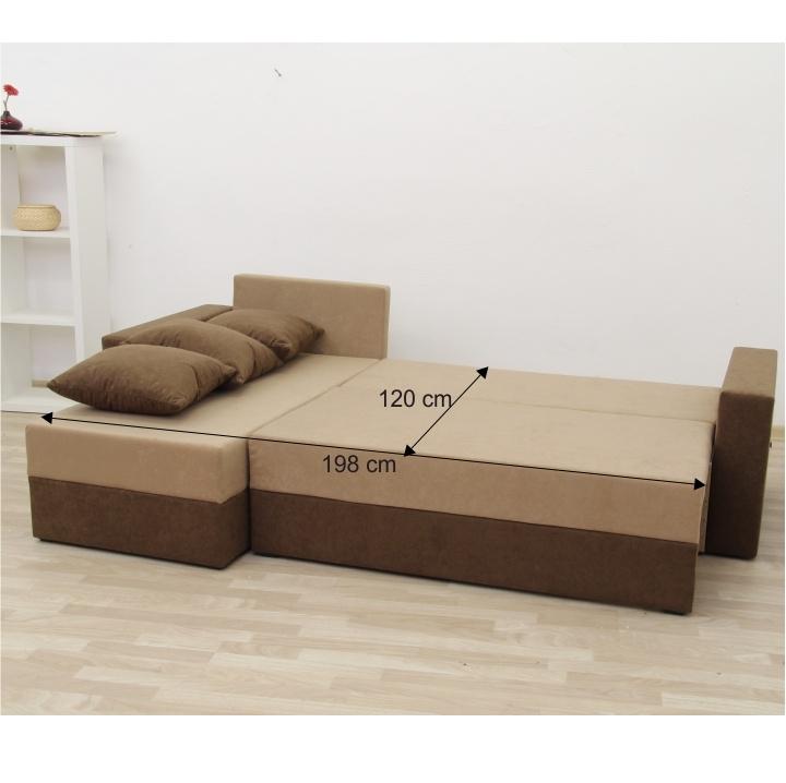 Rohová sedacia súprava, hnedá/béžová látka, plocha na spanie s rozmermi, ARON