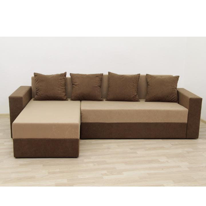Rohová sedacia súprava, hnedá/béžová látka, interiérová fotka, ARON