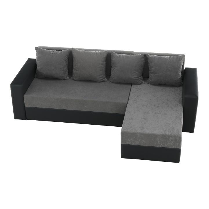 Rohová sedacia súprava, ekokoža čierna/sivá látka, ARON - fotka z hora