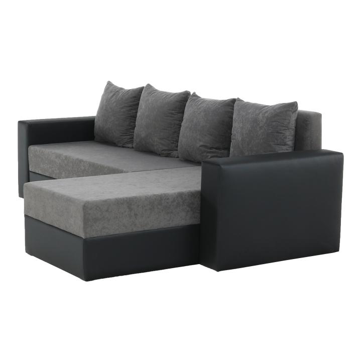 Rohová sedacia súprava, ekokoža čierna/sivá látka, ARON - bočná strana
