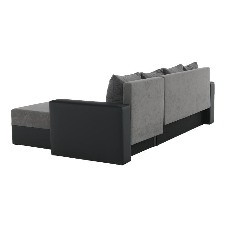 Rohová sedacia súprava, ekokoža čierna/sivá látka, ARON - zadná strana
