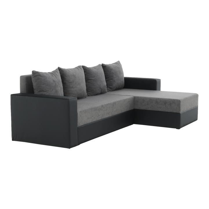 Rohová sedacia súprava, ekokoža čierna/sivá látka, ARON - fotka na bielom pozadí