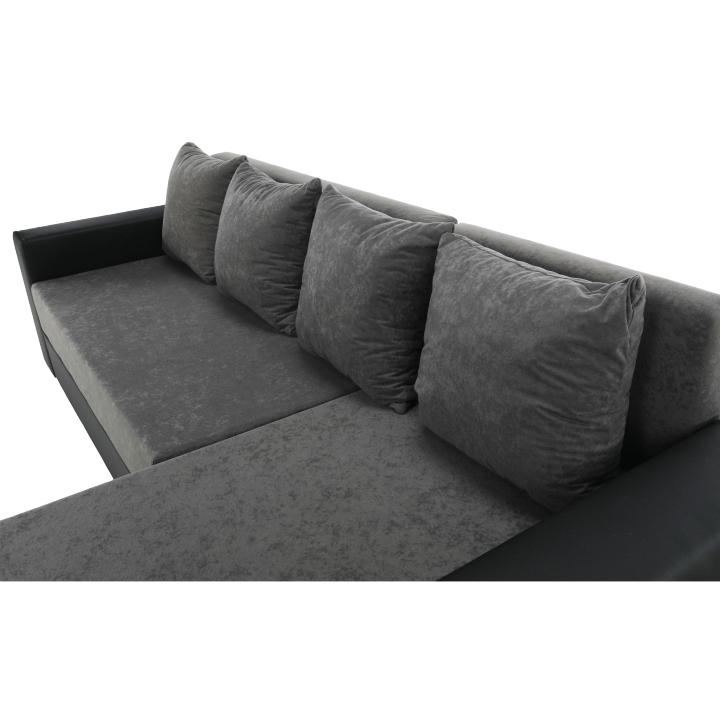 Rohová sedacia súprava, ekokoža čierna/sivá látka, ARON - sedacia časť