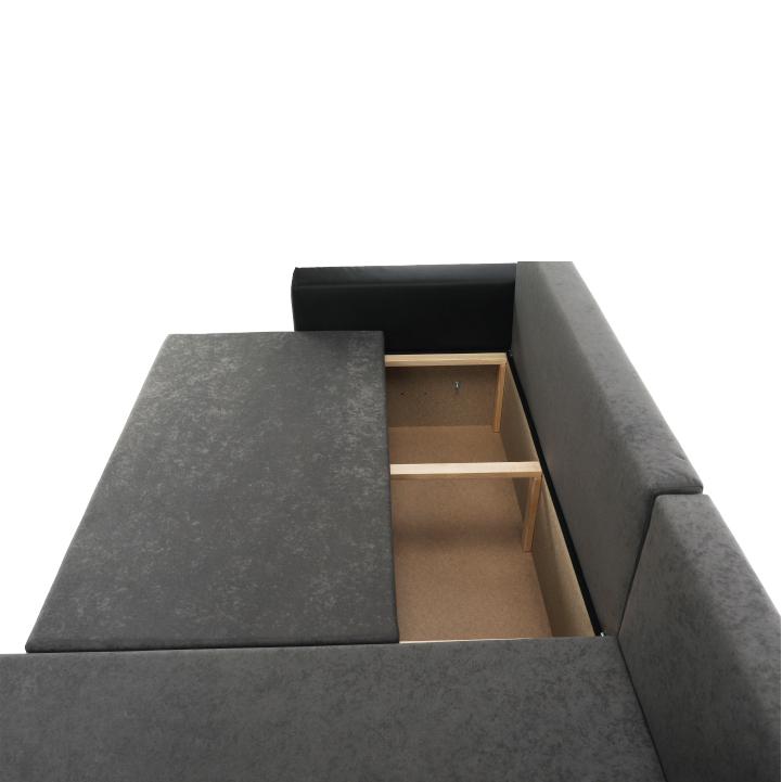 Rohová sedacia súprava, ekokoža čierna/sivá látka, ARON - úložný priestor