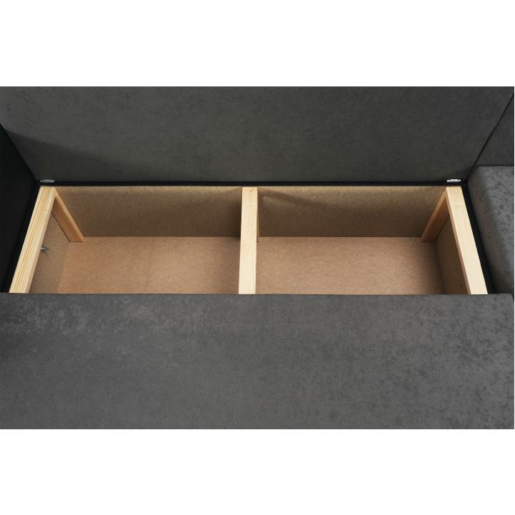 Rohová sedacia súprava, ekokoža čierna/sivá látka, ARON - detail úložného priestoru