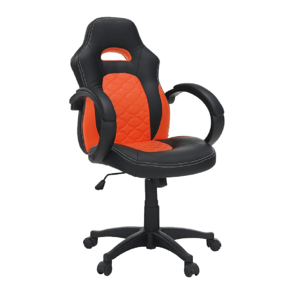 Fotoliu de birou, piele ecologică negru/portocaliu, NELSON