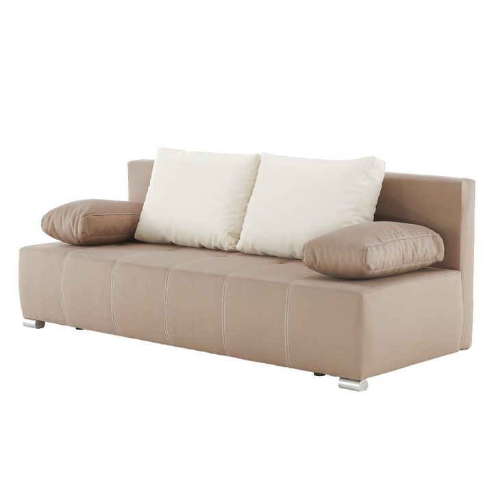 Pohovka rozkladacia, s úložným priestorom, každodenné spanie, látka svetlohnedá/vankúše krémové, kontrastné šitie, na bielom pozadí, ATOS