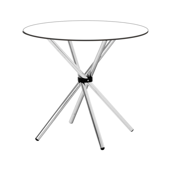 Jedálenský stôl, okrúhly, sklo/chróm, VRATKO
