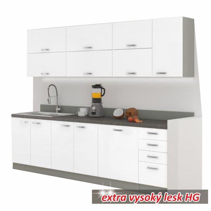 Kuchynská linka, základná zostava, bielavysoký lesk/biela vysoký lesk, PRADO