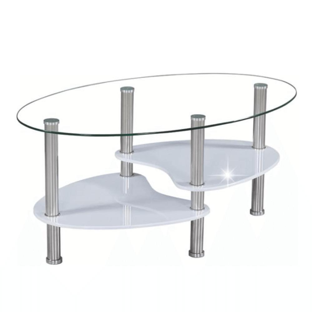 Dohányzóasztal, acél/üveg/fehér extra magasfényű HG, AXEL NEW