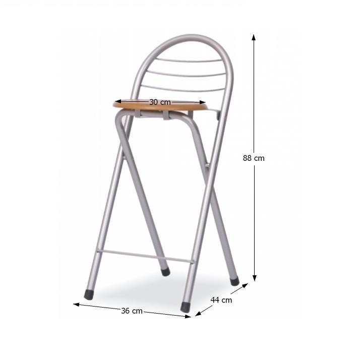 Barová stolička, buk/chróm, BOXER - fotka s rozmermi
