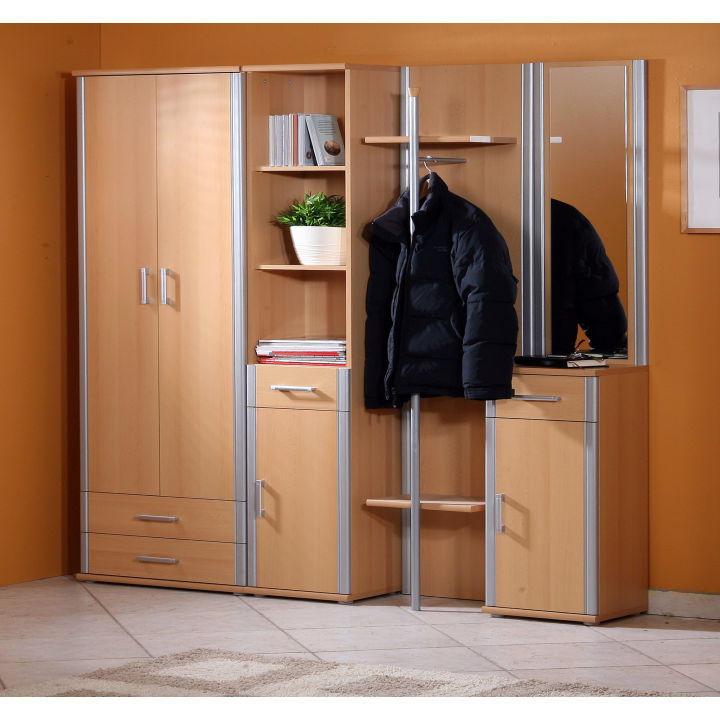 Regál, buk, strieborný, interiérová fotka, LISSI TYP 02