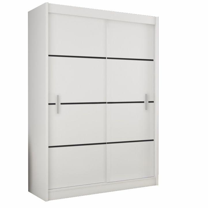Skriňa s posúvnými dverami, biela/čierna, MERINA 203, na bielom pozadí