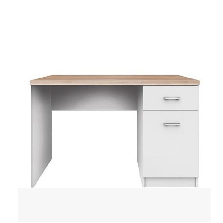 PC stôl 1d1s, DTD laminovaná, biela/dub sonoma, TOPTY