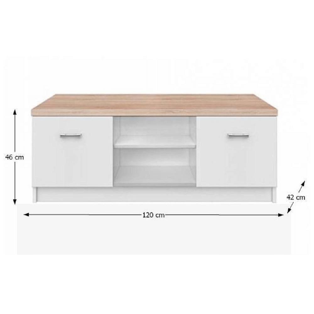 RTV asztal 2d, DTD laminált, fehér/tölgy sonoma, TOPTY TYP 15