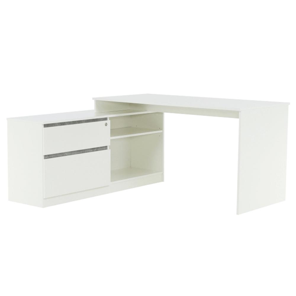 Sarok PC asztal, fehér/beton, BENTOS