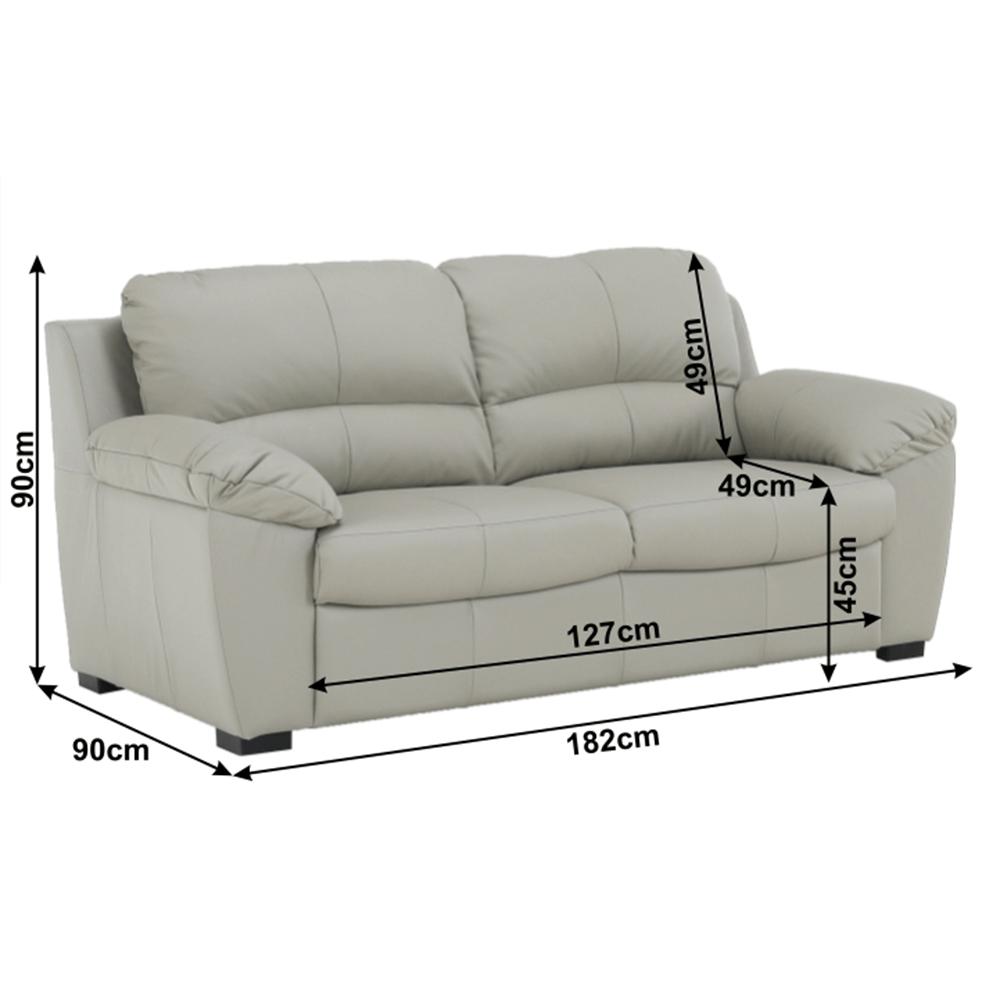 Bőr 3 személyes kanapé, bőr pampas hellgrau M9010, DANILO