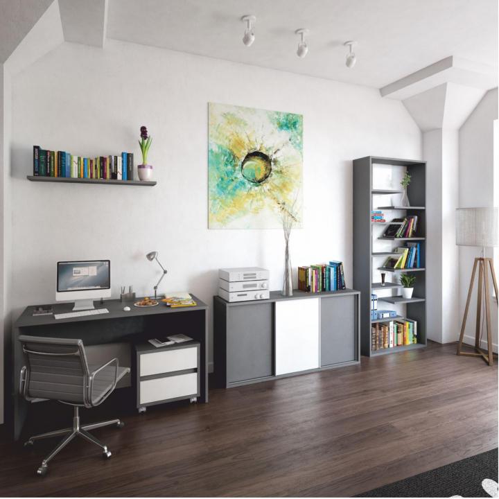 Regál, DTD laminovaná, sivá grafit/biela, interiérová fotka, MARSIE M2
