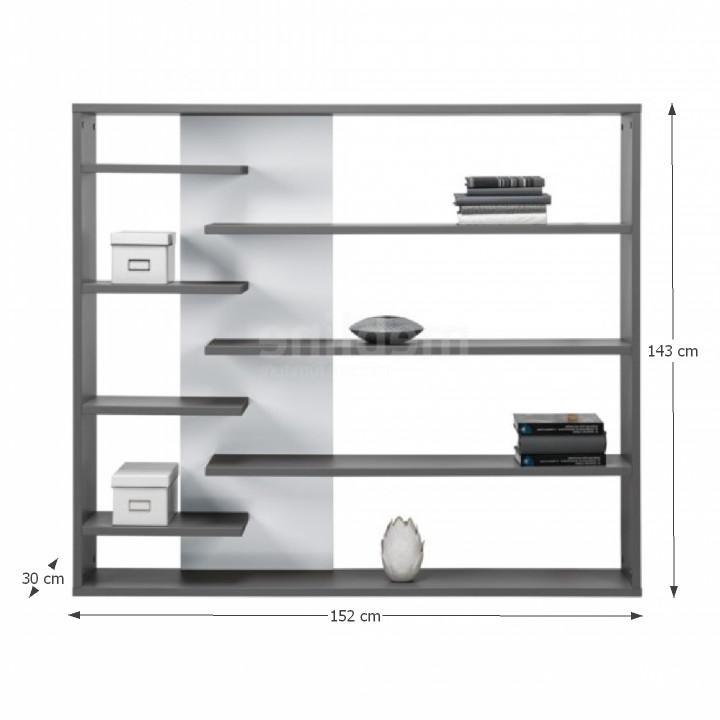 Regál, DTD laminovaná, sivá grafit/biela, s rozmermi, MARSIE M2