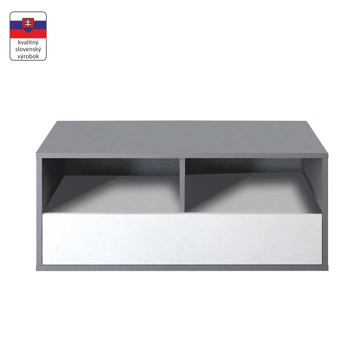 RTV stolík, DTD laminovaná, sivá grafit/biela, na bielom pozadí, MARSIE