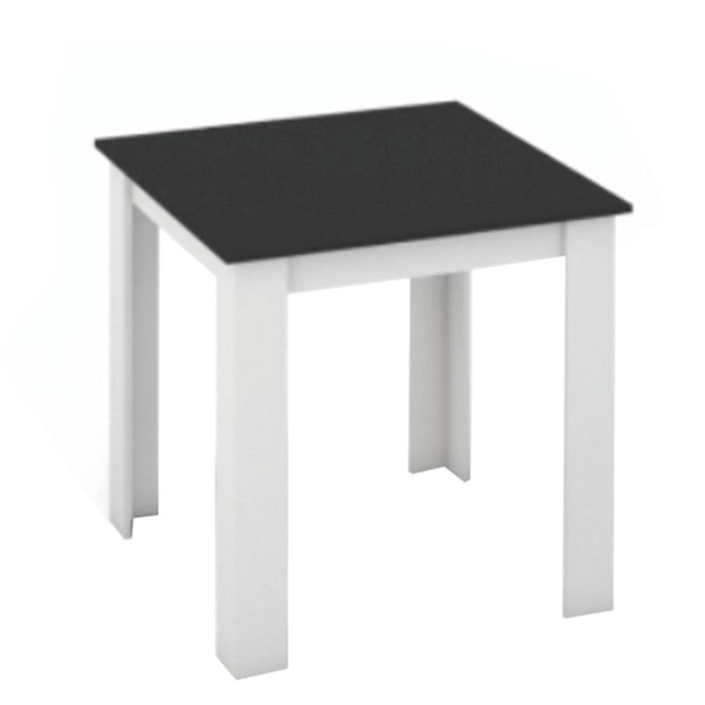 Masă dining, alb/negru, 80x80, KRAZ