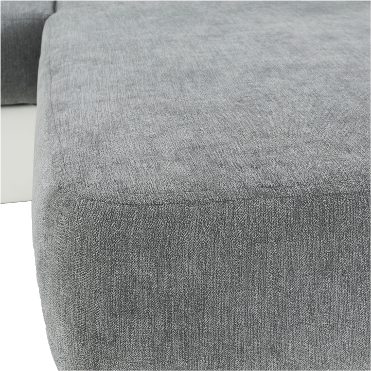 Roh malý P, ekokoža biela/látka Matrix 16 sivá, SANTIAGO, detail na poťah