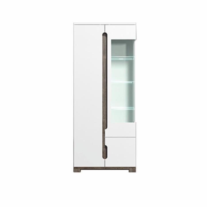 Vitrines szekrény, san remo/fehér magasfényű, LED világítással, LORIEN LS 22