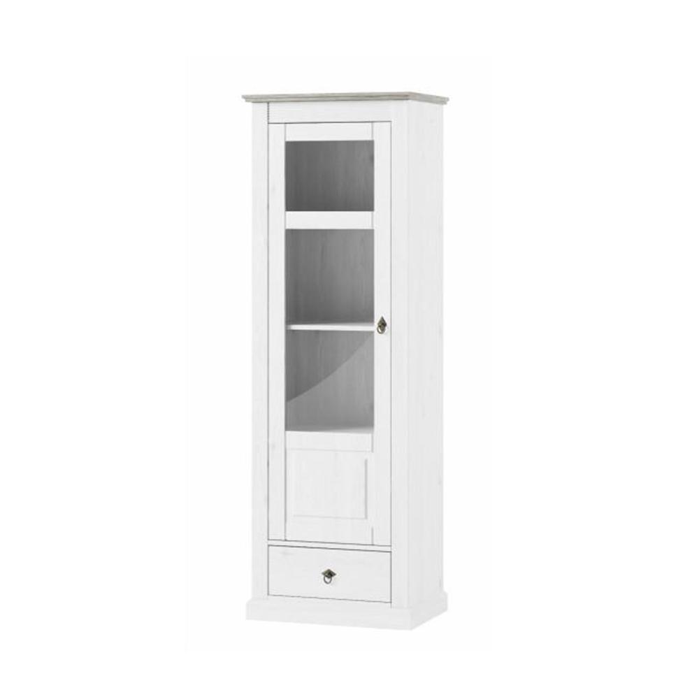 Vitrines szekrény, fehér, LIONA LM 01