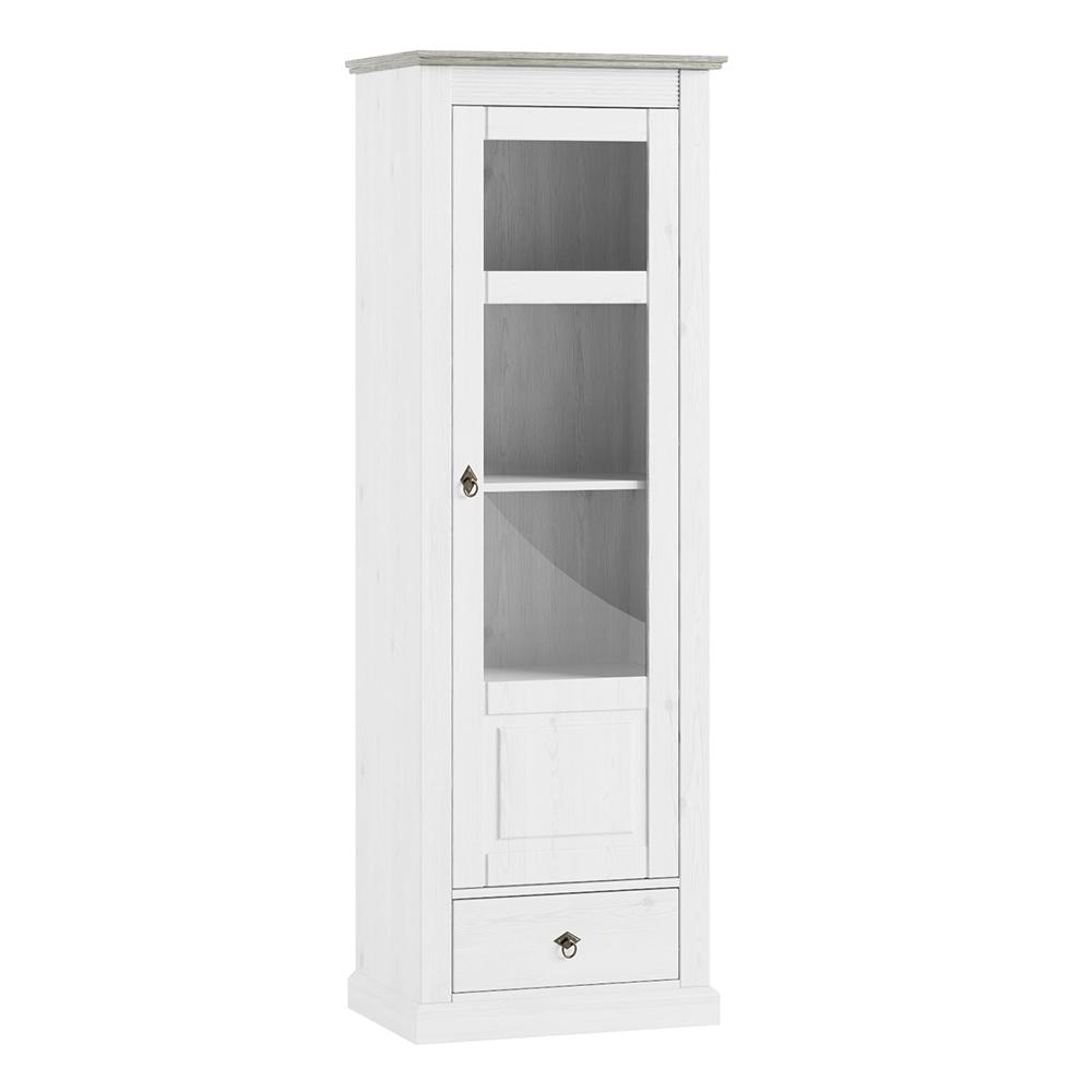 Vitrines szekrény, fehér, LIONA LM 11