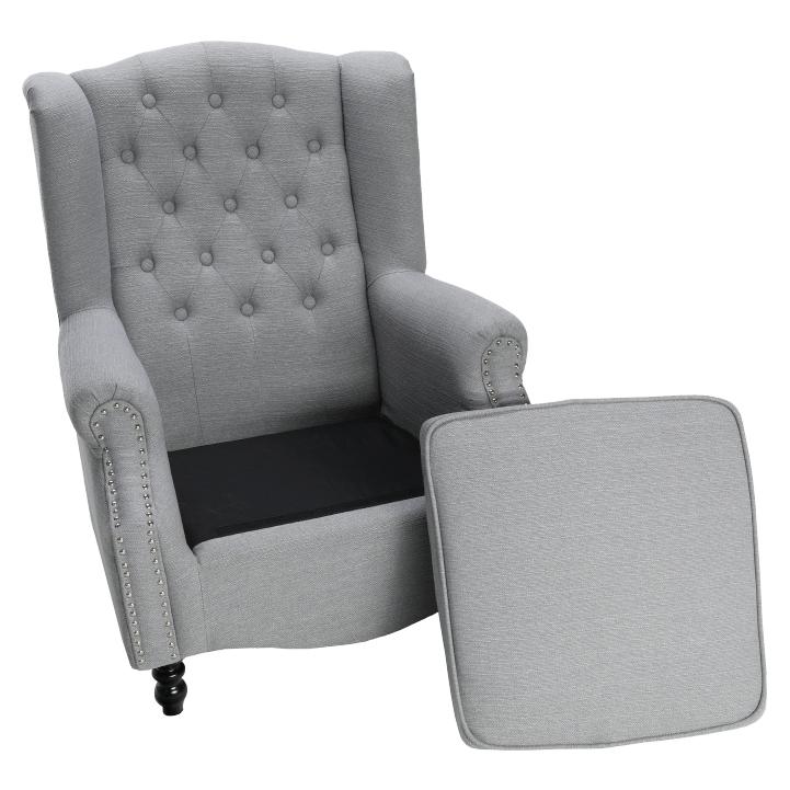 Kreslo, látka/masív, sivá/čierna, SILVAN, vyložená sedacia časť