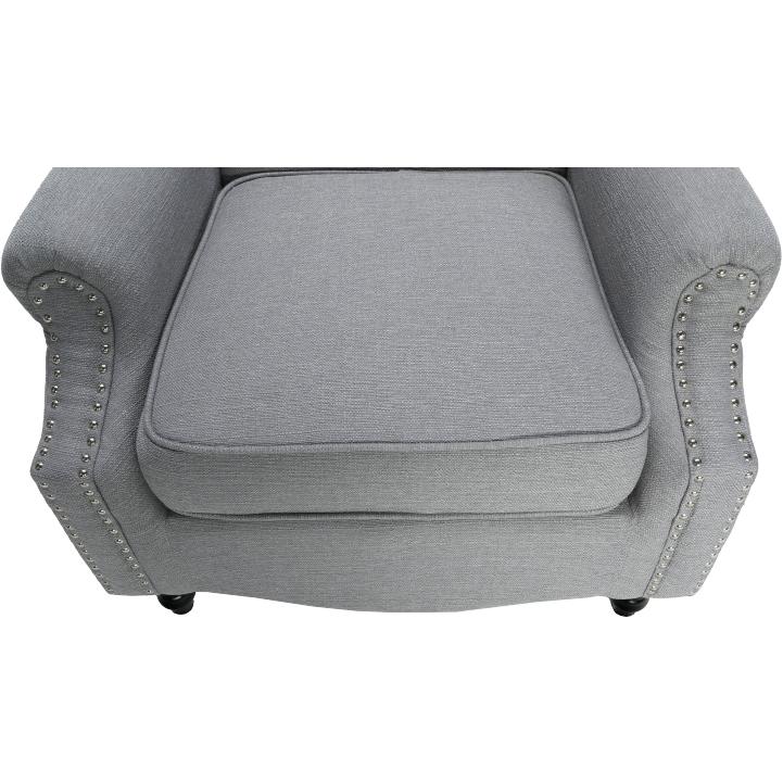 Kreslo, látka/masív, sivá/čierna, SILVAN, detail na sedaciu časť