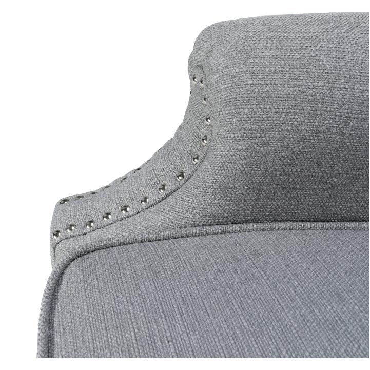 Kreslo, látka/masív, sivá/čierna, SILVAN, detail na poťah