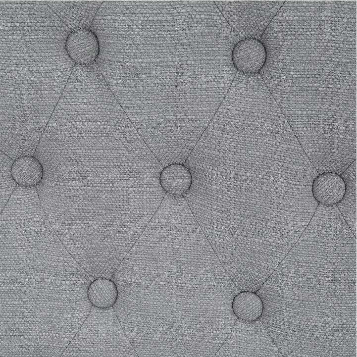 Kreslo, látka/masív, sivá/čierna, SILVAN, detail na dekoratívne gombíky