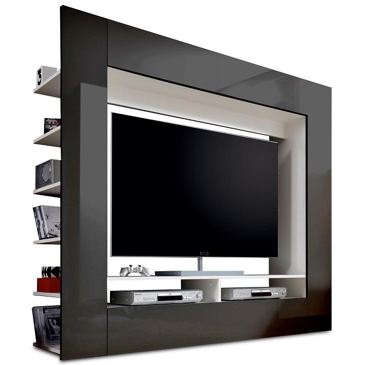 Luxusná TV a media stena, čierna/extra vysoký lesk, na bielom pozadí, MEDI TV