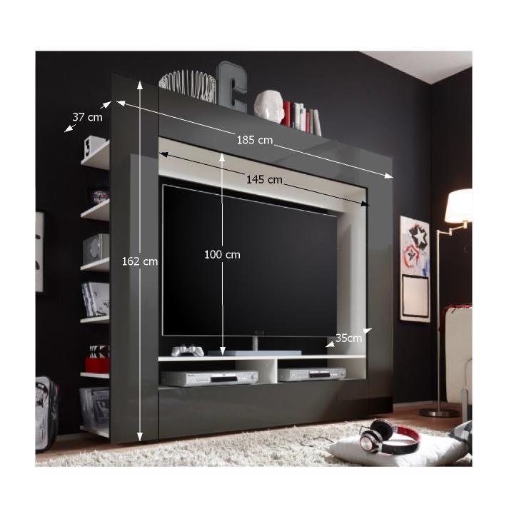 Luxusná TV a media stena, čierna/extra vysoký lesk, s rozmermi, MEDI TV