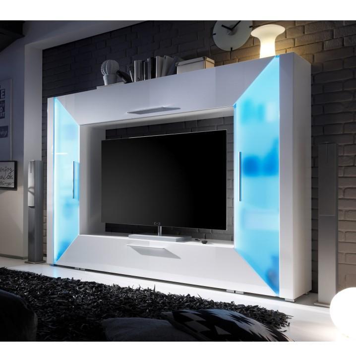 TV a media stena, DTD laminovaná, MDF s extra vysokým leskom, biela, svetlomodré osvetlenie,EDGE