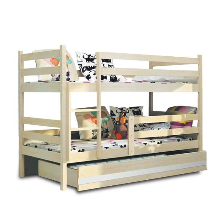 Poschodová drevená posteľ, sosna/prírodná, 80x190 cm, ADELA NEW