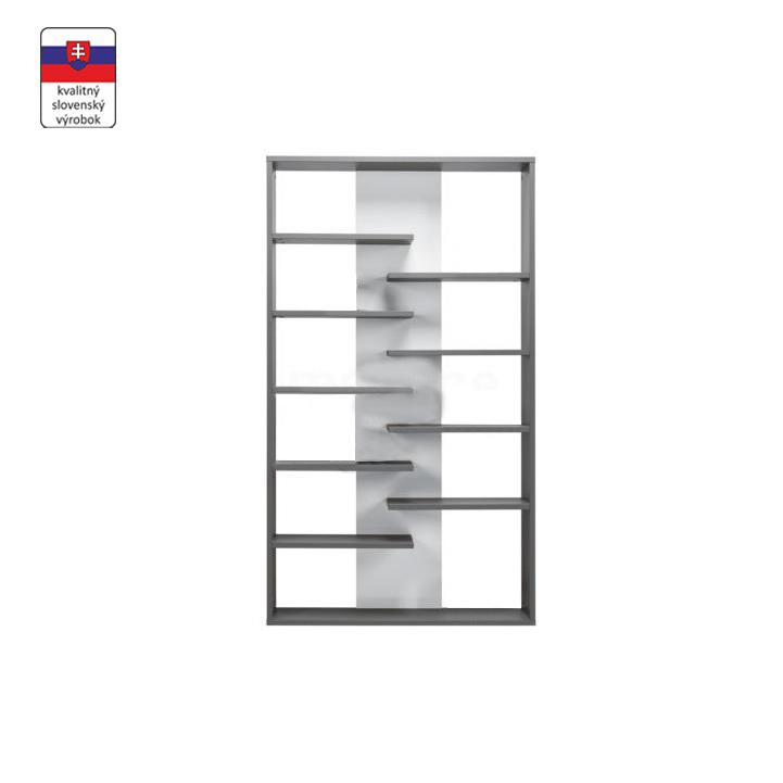 Vysoký regál, sivá grafit/biela, na bielom pozadí, MARSIE M14