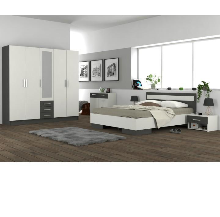 Nočný stolík, DTD laminovaná, sivá grafit/biela, interiérová fotka, GREYLINE