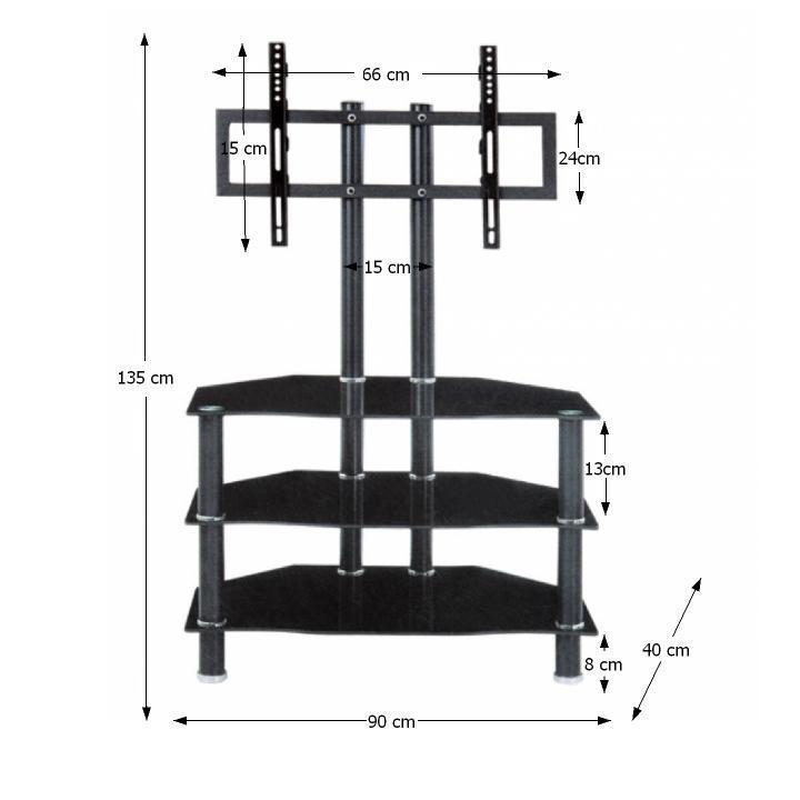 TV stolík, kov/sklo, čierna, ROSS
